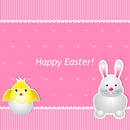 Easter card with chick and hare.  Stock Vector - 18254460