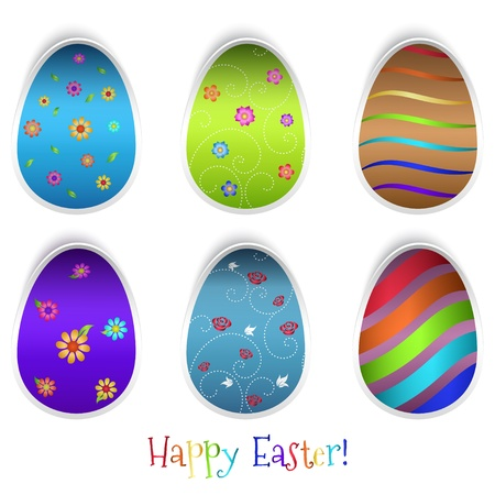 Set of six Easter eggs with different patterns. Stock Vector - 18254463