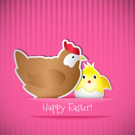 Easter card with chicken and chick, cut out of paper.  Stock Vector - 18254461
