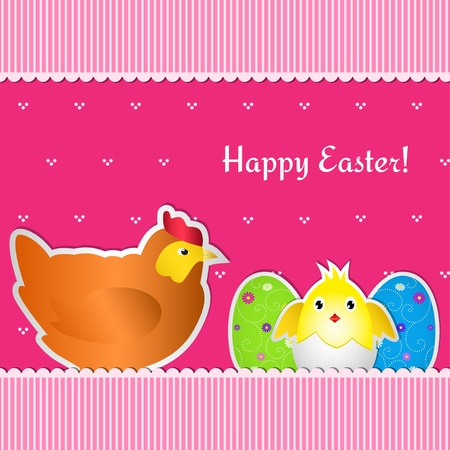 Easter card with chicken, chick and two eggs, cut out of paper.  Vector