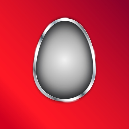 Gray Easter Egg with silver metallic border on red background.  illustration. Stock Vector - 18339054