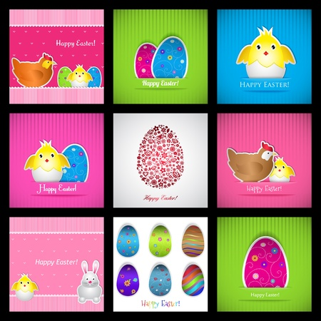 Set of Easter cards with eggs, chickens and hares. illustration. Stock Vector - 18339059