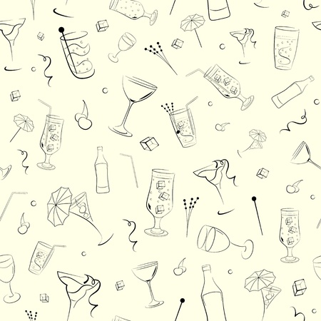 Seamless background of the subjects on alcoholic beverages Vector