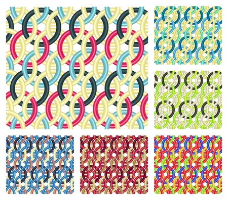 entwined: Set of six seamless patterns that consist of multicolored entwined rings
