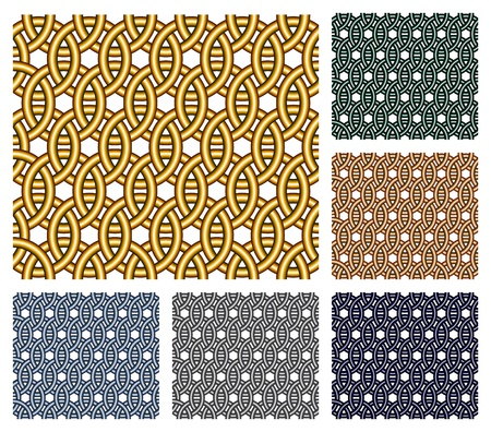 entwined: Set of six seamless patterns that consist of entwined metal rings of different colors.