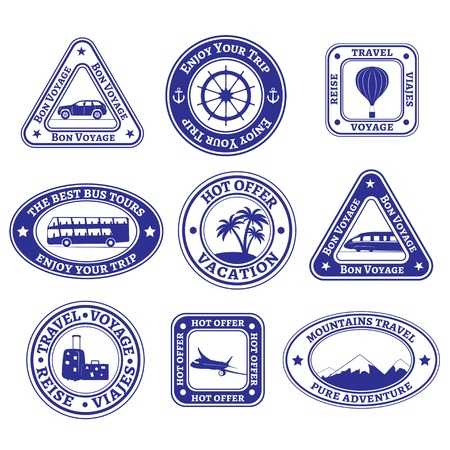 Set of nine stamps and badges on tourism and travel in blue.
