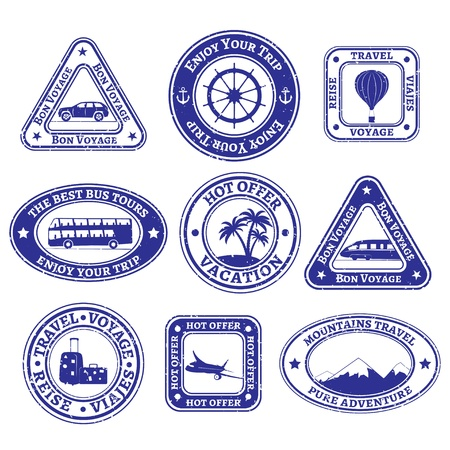 Set of nine scratched stamps on tourism and travel in blue. Vector