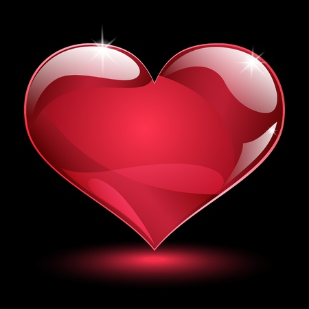 Big shiny red heart with shadow and glare on black background Illustration