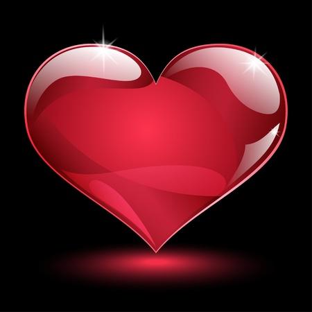 Big shiny red heart with shadow and glare on black background Ilustração