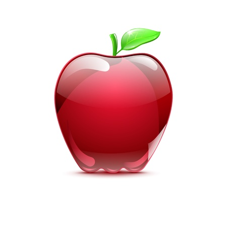Big red apple from glass with shadow on white background