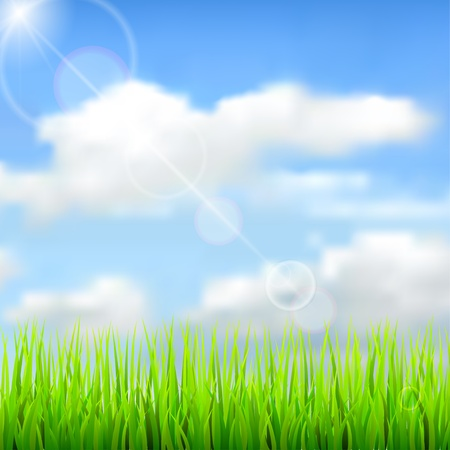 Nature spring background with the sky, clouds, grass and glares. Vector