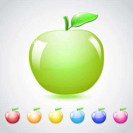 Set of glass apples in different colors, with green leaf. Vector