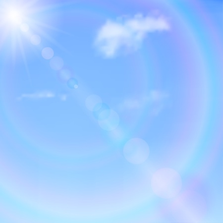 Blue sky with clouds, sun and glare. Vector background. Illustration