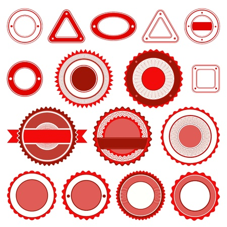 Set of badges, labels and stickers without text. In red color. Vector