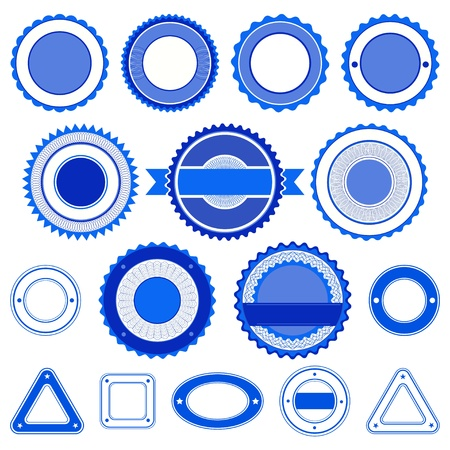 Set of badges, labels and stickers without text. In blue color. Vector