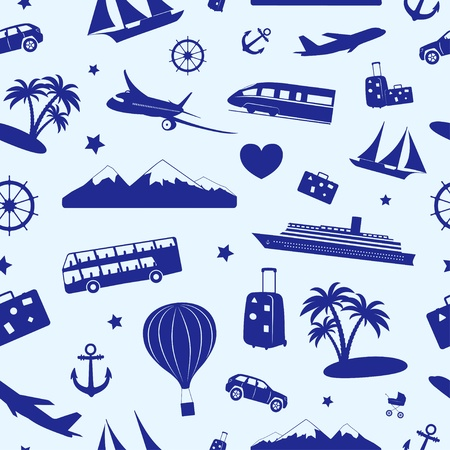 Seamless monochrome pattern composed of travel and tourism symbols.