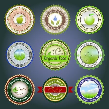 Conjunto de etiquetas, insignias y pegatinas en la comida orgánica y natural