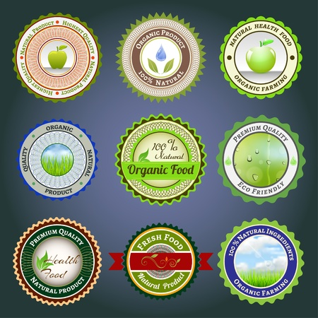 Set of labels, badges and stickers on organic and natural food Illustration