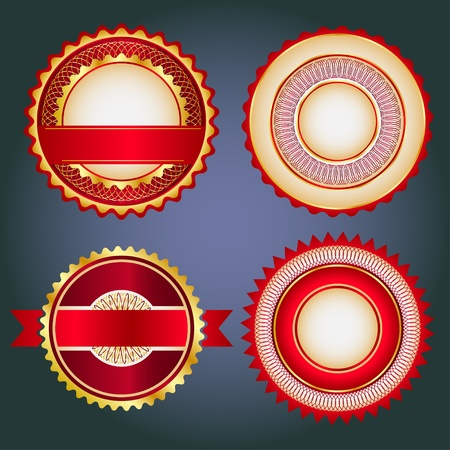 Badges, labels and stickers without text on retail. Designed in red colors. Vector