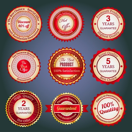 Badges, labels and stickers with various inscriptions on retail. Designed in red colors. Vector