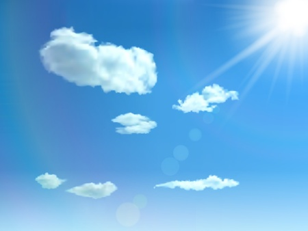 Blue sky with clouds, sun and glare background  Illustration