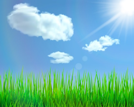 Background with green grass, blue sky, clouds, sun and glare illustration