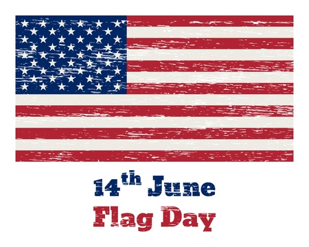 Vintage USA flag with the inscription 14th of June Flag Day and  removable scratches Vector