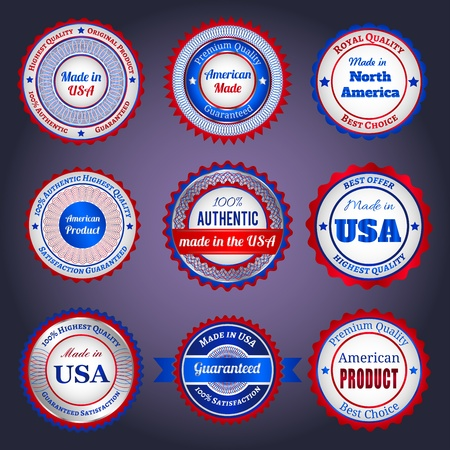 Set of trade labels and stickers on Made in the USA, in blue and red colors Illustration