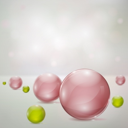 Abstract background with rosy and green glass spheres
