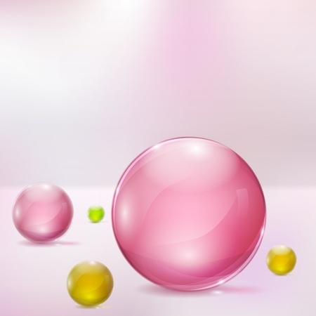 Abstract background with rosy, yellow and green glass spheres Ilustração