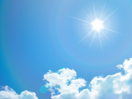 fluffy clouds: Blue sky with clouds and sun. Vector background.