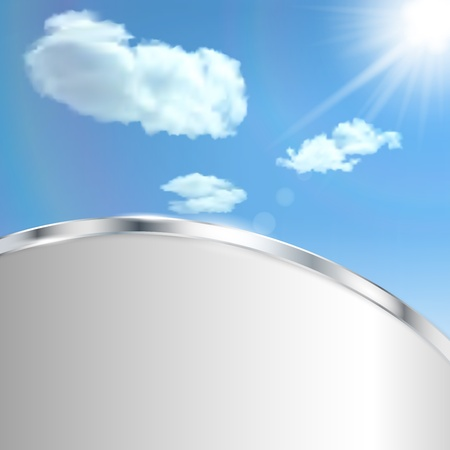metallic  sun: Abstract background with sky, sun, clouds and metallic strip