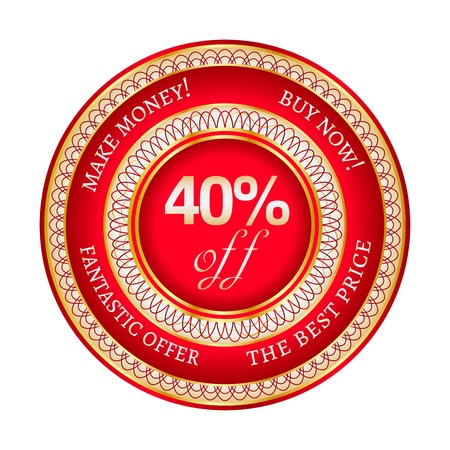 Round red and gold sticker or label on 40 percent discount Stock Vector - 19451981