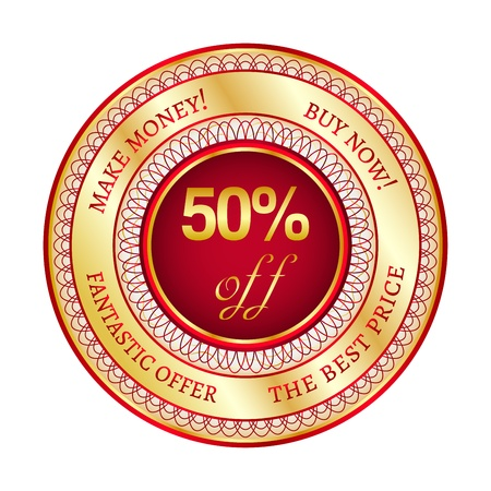 top 50 icon: Round red and gold sticker or label on 50 percent discount Illustration