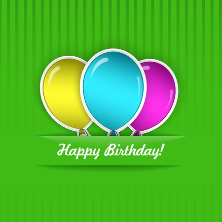 Green Birthday Card with three multicolored balloons, cut from paper Stock Vector - 19451970