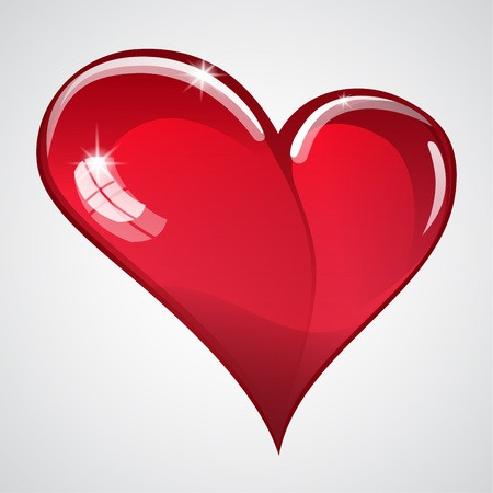 Big red brilliant heart with glare Vector