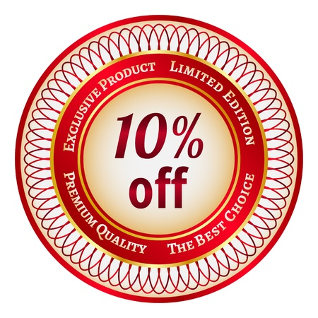 Round red and gold sticker or label on 10 percent discount