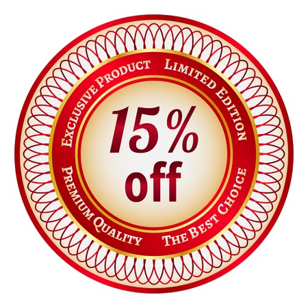 fifteen: Round red and gold sticker or label on 15 percent discount