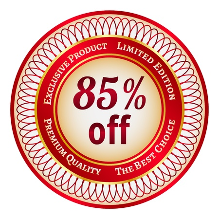 Round red and gold sticker or label on 85 percent discount