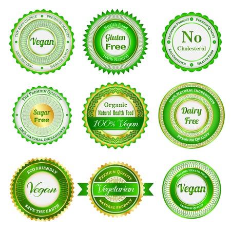 Set di etichette, scudetti e adesivi su alimenti biologici e naturali