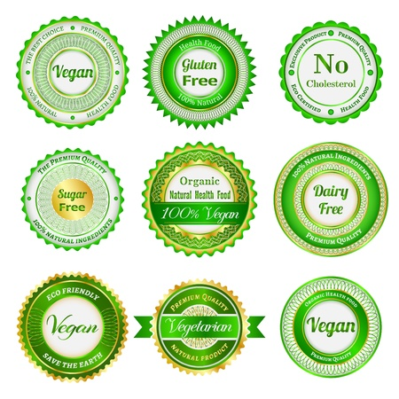 Set etiketten, badges en stickers op de biologische en natuurlijke voeding
