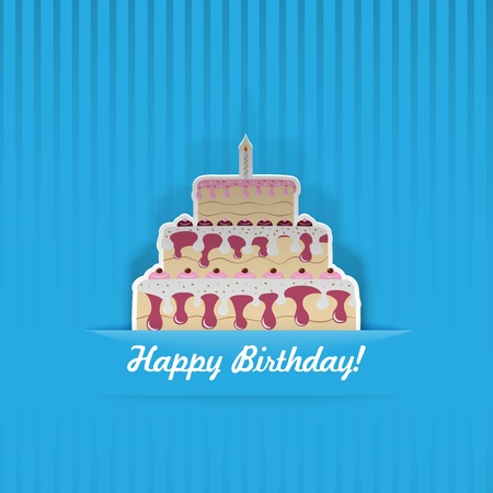 Blue Birthday Card with cake, cut from paper Vector