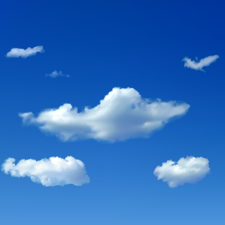 Blue sky background with big and small clouds