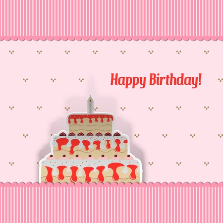 Birthday Card with cake, cut from paper Stock Vector - 19633824