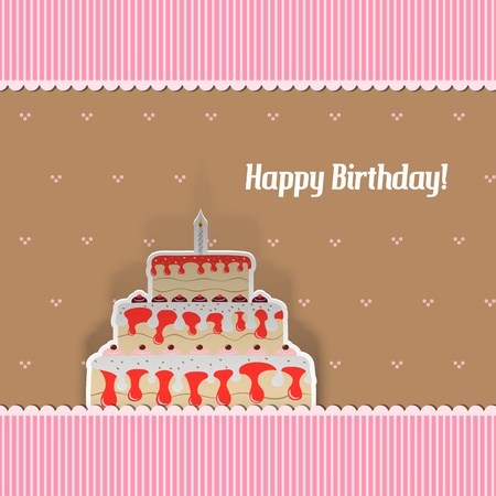Birthday Card with cake, cut from paper Vector