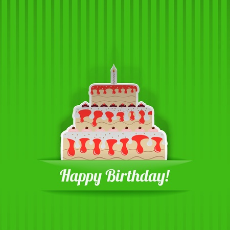 Green Birthday Card with cake, cut from paper Vector
