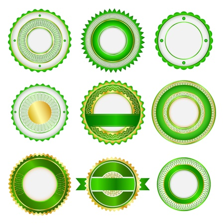 Set of badges, labels and stickers without text. In green color. Vector