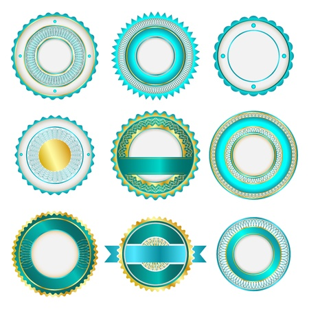 Set of badges, labels and stickers without text. In turquoise color. Vector