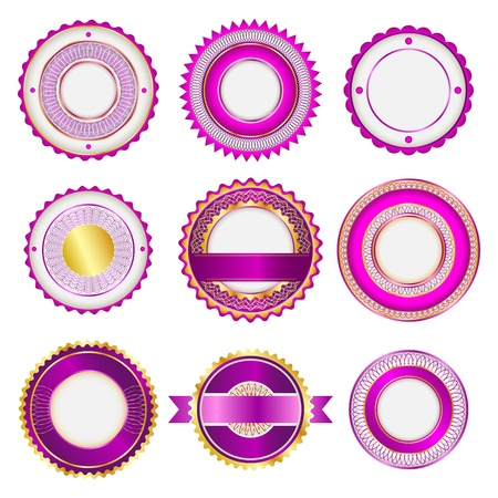 Set of badges, labels and stickers without text. In pink color. Vector