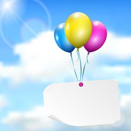Globos multicolores con la tarjeta de papel en el fondo del cielo con sol y nubes